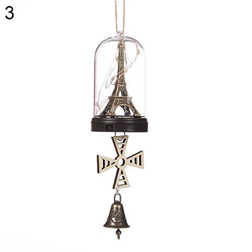 beiguoxia Viel Glück Windglocke LED Beleuchtung Gans Delfin Eiffelturm Windbell Wand hängend Home Dekoration LED Lichter, Kupfer, 3#, Einheitsgröße