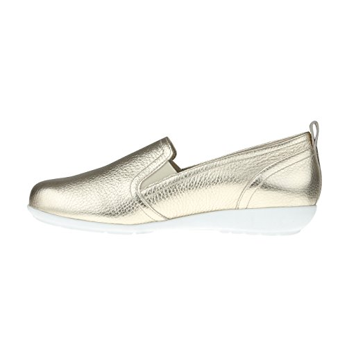tessamino Damen Slipper aus Hirschleder in Metallic Optik, modisch, Weite H, für Einlagen Gold