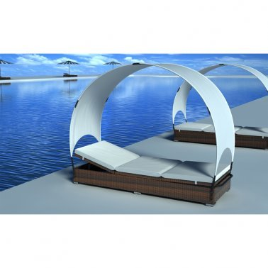 Brown Lounge Bed Made In PE Rattan With Canopy - Strong And Firm - Cushions Cover Is Included - Suitable For Both Indoor And Outdoor Use By eCommerce Excellence