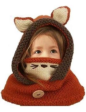 MiniGreen Mütze Kindermütze Tiermuster der Karikatur 3D Winter Strickmütze Pudelmütze Schal Handschuhe Set Gehäkelt...