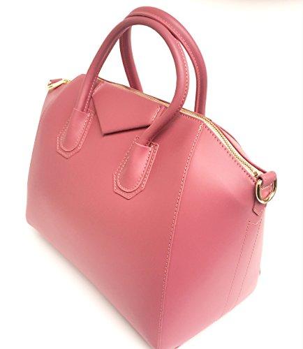 Superflybags Damentasche echt leder Modell Rebecca Einzigartige Tasche hergestellt mit besonderem glattem Leder fucsia