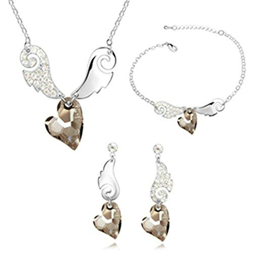 Aooaz Femmes Alliage Bijoux Parures Aile Boucles d'oreilles Bracelet Collier Mariage Coloré Argent