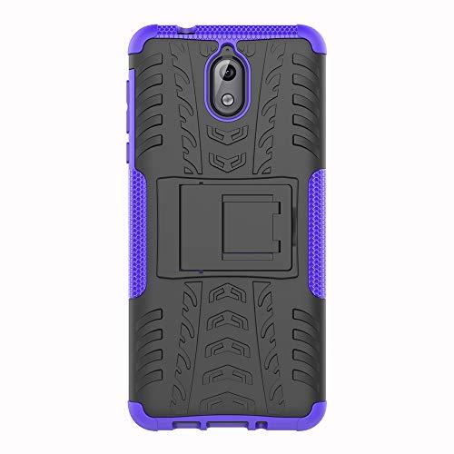 SHIEID Nokia 3.1-Hülle Tough Hybrid Armor Case,Diese Handyhülle Anti-Wrestling Travel Essential Faltbare Halterung für Nokia 3.1(Purpur)