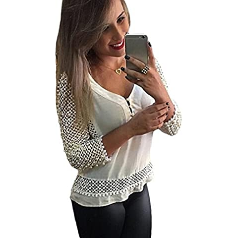Malloom® 1PC Donna Maniche Sexy Lunghe Profondo V-Collo T-shirt Maglietta Sottile Chiffon Autunno