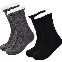 Boao 2 Pares de Calcetines de Invierno de Mujeres Calcetines Antideslizantes Suave Calcetines Forrados de Lana