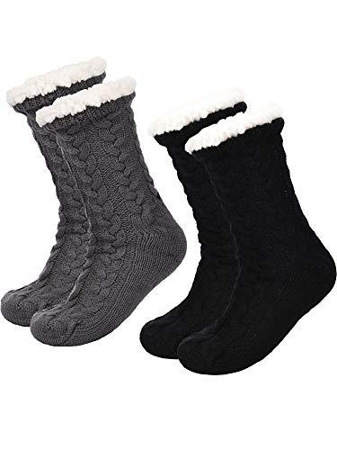 Boao 2 Pares de Calcetines de Invierno de Mujeres Calcetines Antideslizantes Suave Calcetines Forrados de Lana Calcetines Esponjosos de Navidad (Negro y Gris)