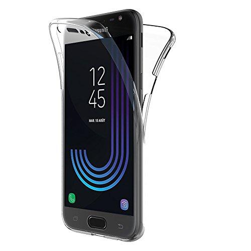 VCOMP Hülle Cover Silikon Gel transparent Ultra- dünn 360° Schutz Integral vorne und hinten für Samsung-Galaxy J3 (2017) J330F/ds/ J330G/ds/ J3 Pro (2017) - ÜBERSICHTLICH