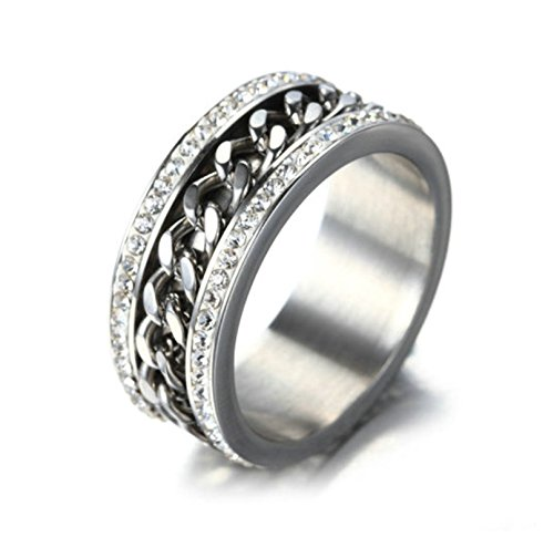 Bishiling Modeschumck Edelstahl Ring Damen AAA Weiß Zirkonia mit Kette Freundschaftsring Silberring Ringgröße 54 (Flash Im Kostüm Katze)
