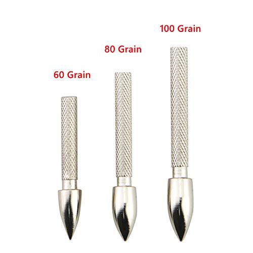 SHARROW 36pcs Pfeilspitze Pfeil Tipps Einfügen Feld Punkt 60/80/100 Grain Broadhead Edelstahl for ID 4,2 mm Carbonpfeile Pfeilschaft (80 Grains) -