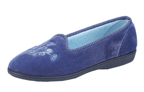 Lavabile, da donna, con ricamo in velour-Pantofole Blu (blu)