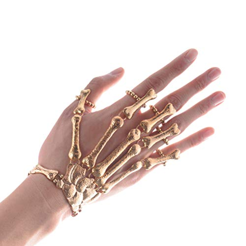 Kostüm Ringe Vintage - Amosfun Halloween Armband Skelett Armband mit Ring Vintage Horror Schmuck Party Kostüm Requisiten (Golden)