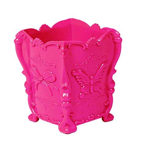 Sukisuki Papillon Motif Make Up support pour brosse Cosmétique Boîte de rangement Coque Stylo Organiseur Conteneur Home Decor, Plastique, rose rouge, Taille unique