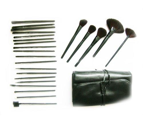 Arustino Lot de 24 pinceaux de maquillage professionnels avec sacoche de rangement Noir