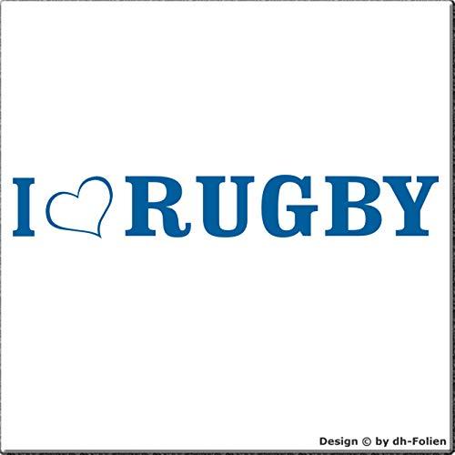 cartattoo4you® AL-00401 | I Love (als Herz) Rugby | K-Serie | 20 x 3 cm | Farbe hellblau | Autoaufkleber Aufkleber Car Sticker Heckscheibe Tuning Gym Sport,in 23 Farben erhältlich