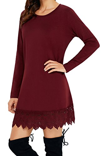 Angerella Damen Kleider für Junioren Lange Lässiges T-shirt Kleid(Weinrot,Large) (T-shirt Trim Kleid)