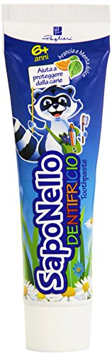 SapoNello - Dentifricio, al fluoro, per bambini, gusto all'Arancia e Menta dolce , 75 ml