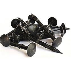 iLP Erdnägel - 100 Stück Erdanker extra stark - Widerhaken für eine sichere Ernte - Befestigung von Unkrautvlies Maulwurfnetz Folien Planen - Kunststoff schwarz - für Beet Gewächshaus