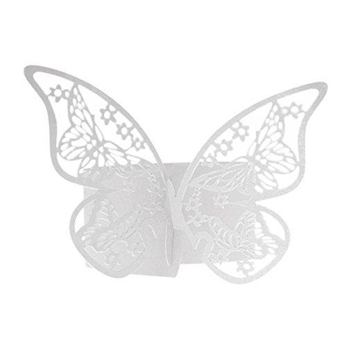 Papier Anneau serviette Papillon 50Pcs Holder Tableau de mariage Bridal Party Favors anniversaire Décorations Blanc Blanc