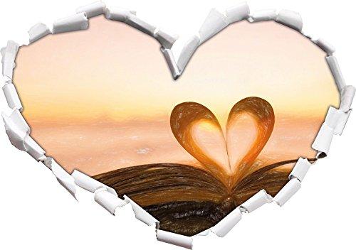 Das Herz aus einer Buchseite Kunst Buntstift Effekt Herzform im 3D-Look , Wand- oder Türaufkleber...
