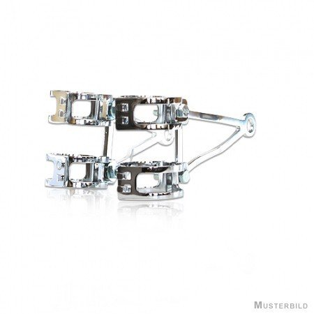 Motorrad Lampenhalter-Set, Alu-poliert, 43-46 mm, 4 verchromte Schellen, 2 Halter /Paar