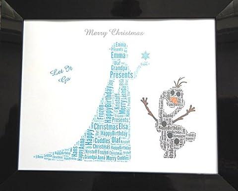 Personnalisé 'Frozen, Elsa & Olaf' Word Art, cadeau de Noël ou cadeau d'anniversaire. Présenté dans le cadre avant en verre de 8