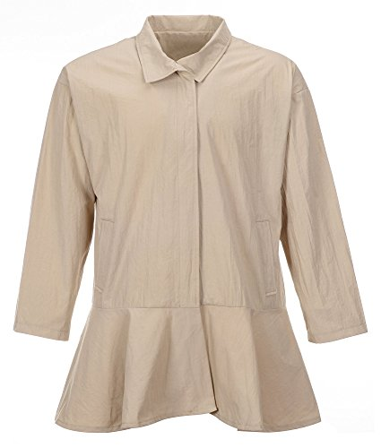 QZUnique Damen Übergröße Reißverschluss Windmantel Mantel Lange Ärmel Rock Saum Medium Long Coat Surcoat mit Taschen - Orange - 16-18W
