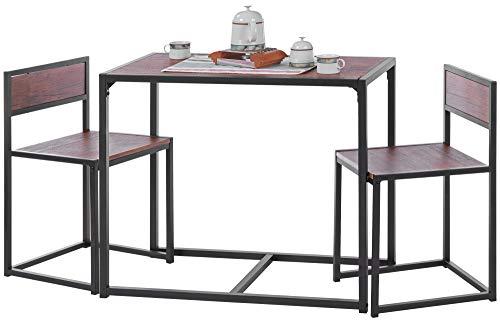 ts-ideen Set 3 pezzi Carrello Portavivande con ripiano estendibilee 2 sgabelli in Alluminio e MDF color Nero per Cucina o Sala da Pranzo