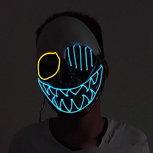 SAILORMJY Maske Halloween, Cosplay Maske EIN Auge LED Maske Purge DJ Mask mit 3 Blitzmodi für Party Halloween Fasching Karneval Kostüm Cosplay Dekoration (Drei Augen Alien Kostüm)