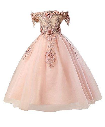nzessin Kleid Off Schulter Hochzeit Festkleid Applique Perlstickerei ()