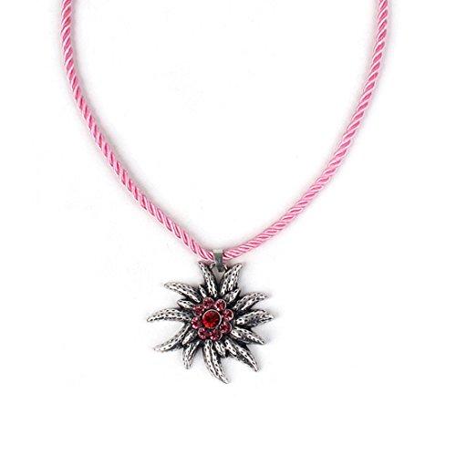 EROSPA® Trachten Hals-Kette mit Silbernen Edelweiss-Anhänger Kordel Damen Schmuck Oktoberfest Dirndl Trachtenmode Wiesn Pink