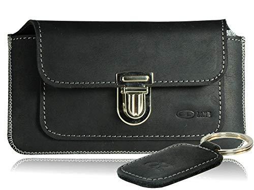 OrLine Handytasche geeignet für Asus Padphone 2 mit Silikon Case. Gürteltasche mit Verschluß und EC-Kartenfach aus Echtleder. Schwarz Etui aus Leder mit die Schlüsselan.