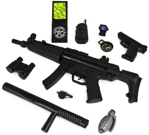 XXL Gewehr Polizei Agenten Set SWAT Kinder-Kostüm Spielzeug Pistole Polizei-Marke (Soldaten Kostüm Spielzeug Kunststoff)