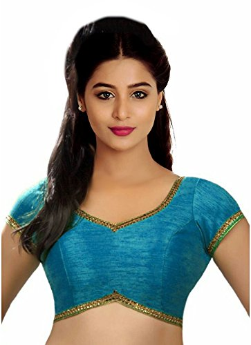 SINGAAR Blue Readymade Blouse - Party Wear - Golden Lace On Back Neck -100% Perfect Fitting