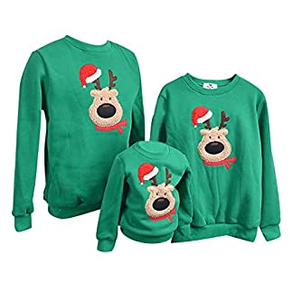 Sudadera Navidad Jersey Navideño Sudaderas Navideñas Familiares Niño Niña Sueter Hombre Mujer Reno Sweaters Estampadas Pullover Cuello Redondo Largas Chica Chico Invierno Anchas Basicas