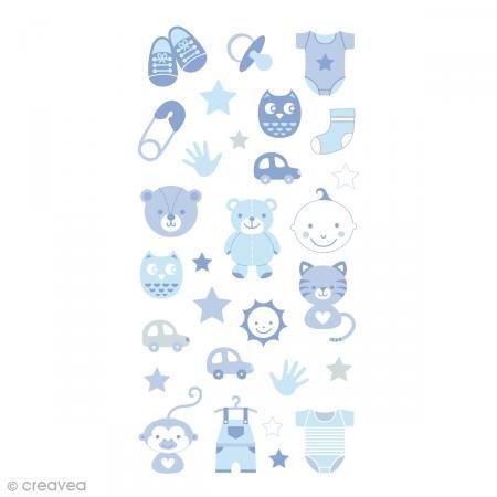 Artemio puffies-Baby Boy Set 30selbstklebend, Papier, blau, 7,5x 0,3x 18cm -
