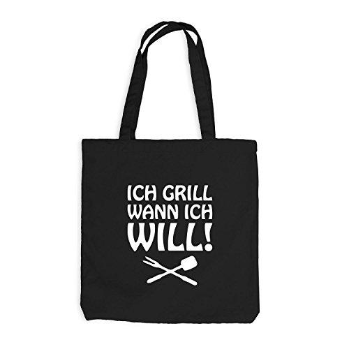 Jutebeutel - Ich Grill wann ich will! - Grillen BBQ Schwarz