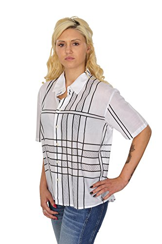 Burberry Blusa Mujer Blanco Negro algodón Ancho Casual M