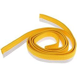 8 Couleurs Ceinture Taekwondo Arts Martiaux en Polyester-Coton Surpiquée Multiples Rangées Couture Super Epaisse Robuste - Blanc + Jaune, 220cm