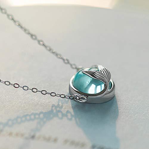 CKLJFG Damen Halskette Meerjungfrau Schaum Blase Design Halskette S925 Silber Meerjungfrau Schwanz Blau Anhänger Halskette Für Frauen Elegante Schmuck Geschenk -