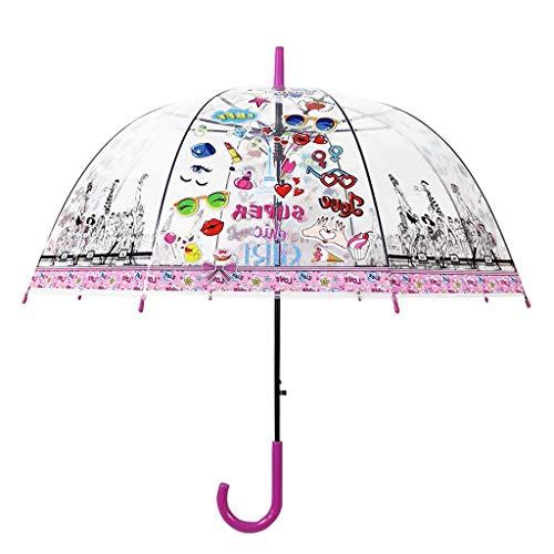 Paraguas Transparentes,Stick Umbrella Dome Transparent, Clear Bubble Dome Umbrella para niños, niñas y niños, automáticos, Paraguas a Prueba de Viento para Bodas al Aire Libre(Gato Negro)