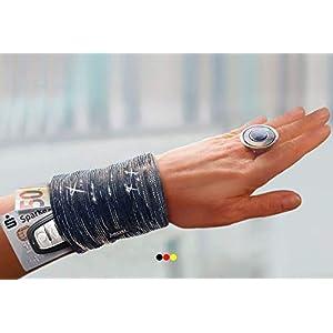 Armtasche schwarz Glitzer silber - schickes Geldversteck elegante Armbandtasche Pulstasche Handgelenktasche Tanztasche Tasche Festival Tanzen Armband Geldbörse Handgelenk Portemonnaie Geschenk Damen