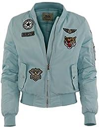 Damen Bomberjacke mit Air Force patches 5 Farben Piloten Jacke
