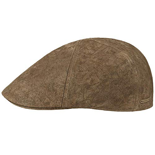 Stetson Texas - Flache Mütze aus Leder Braun-L - Für Leder Herren Flache Mützen