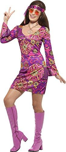Smiffy's 45519M - Damen Woodstock Hippie Kostüm, Kleid, Kopftuch und Medaillon, Größe: 40-42, mehrfarbig