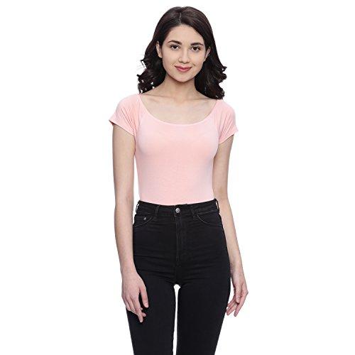 Chumbak Make Happy Off Shoulder Pink Bodysuit - S