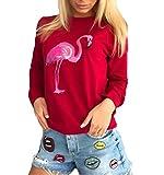 Sweatshirt Damen Jungen Pullover Women Elegante Langarm Rundhals Young Fashion Herbst Flamingo Drucken Fleecepullover Unique Bluse Streetwear Pulli Oberteil Tops Soprt Stretch