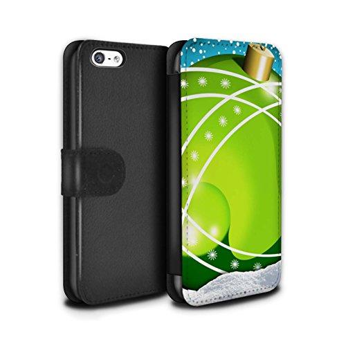 Stuff4 Coque/Etui/Housse Cuir PU Case/Cover pour Apple iPhone 5C / Pack 5pcs Design / Boules de Noël Collection Croix/Vert