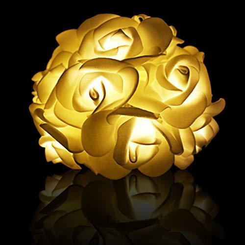 fairy rosen Rose Flower Fairy Lichterketten 3M 30LED Batteriebetriebene Lichterketten Hochzeit Schlafzimmer Gärten Party Wand Jubiläum Valentinstag Dekoration - 2 Mode Stetig an/blinkt - Warm White