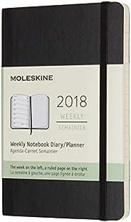 Moleskine Wochen Notizkalender, Taschenkalender, 12 Monate, 2018, Pocket, A6, Soft Cover, Schwarz
