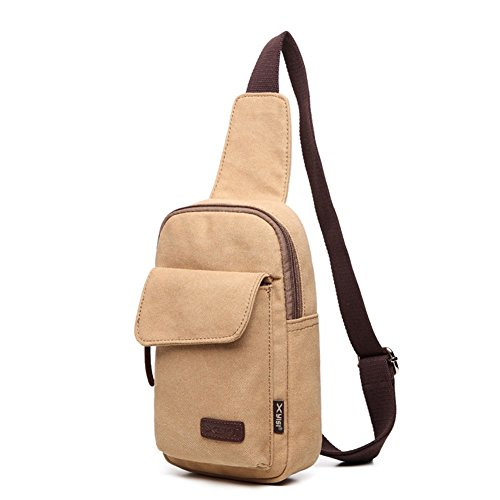 Butterme Sacchetto casuale del sacchetto di spalla di viaggio del sacchetto di spalla degli uomini dello zaino dello zaino casuale della tela di canapa casuale Cachi